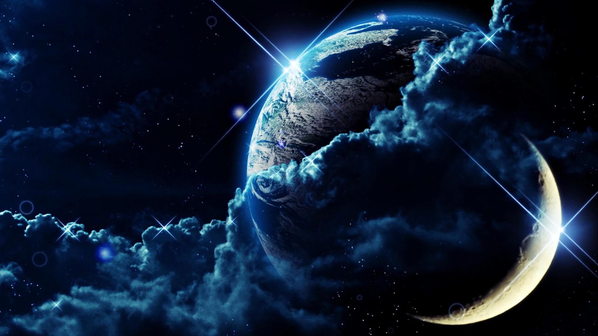 Wallpaper gratis de planeta y nubes, en HD.